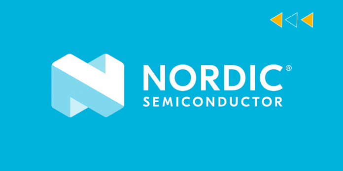 Nordic semiconductor logo with sky blue background